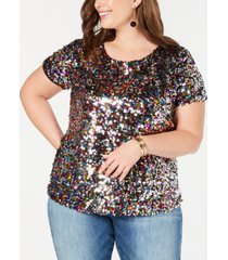inc plus size sequined t-shirt, created for macy's