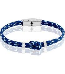 bracciale nodo blu, azzurro e bianco in corda e acciaio per uomo