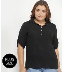 blusa city lady botões mangas 3/4 plus size feminina