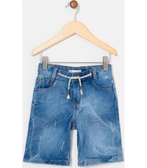 bermuda infantil em jeans com cadarço - tam 1 a 4 anos