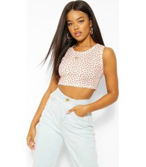 ditsy floral rib cropped tank top, red