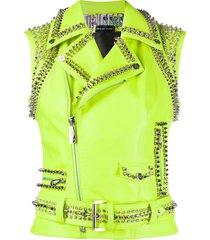 philipp plein leather crop biker jacket - yellow