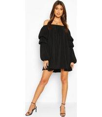 plisse off the shoulder puff sleeve swing dress, black