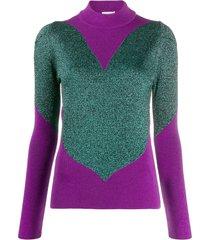 gcds panelled metallic sweater - purple