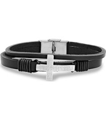 anthony jacobs men's stainless steel & leather our father prayer cross bracelet