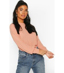 petite ribbed long sleeve top, peach
