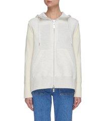 rib knit sleeve zip front fishtail hoodie