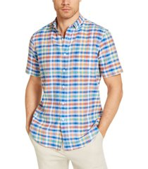 club room men's avon plaid short sleeve shirt, created for macy's