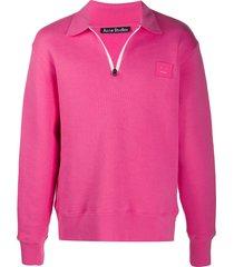acne studios logo-patch oversized sweatshirt - pink