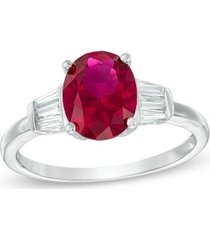 925 silver 14k white gold solitaire with accents ring with ruby & d/vvs1 diamond