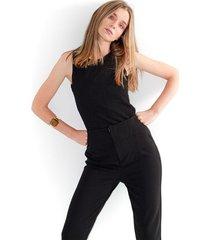 camiseta para mujer  color negro, cuello redondo, manga sisa, semiajustada color-negro-talla-xxs