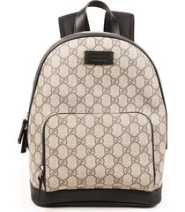 gucci small gg supreme coated canvas leather backpack black/brown/logo sz: m