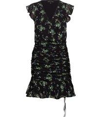 print ruched mini dress kort klänning svart banana republic