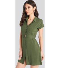 trendyol belted shirt mini dress - green