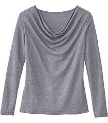 shirt met watervalhals, zilvergrijs 38