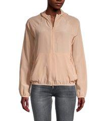 redvalentino women's two-way zip-up silk hooded jacket - cream - size 40 (8)