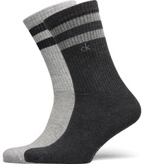 ck men crew 2p stripes casual mauri underwear socks regular socks grå calvin klein