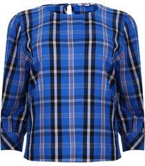 blusa cuello barco 3/4 a cuadros color azul, talla 6