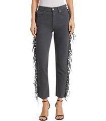 movement fringe-trimmed cropped jeans