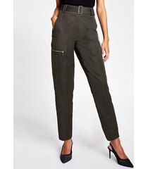 river island womens khaki high rise belted cargo trousers
