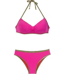 amir slama gold-tone trimming bikini set - pink