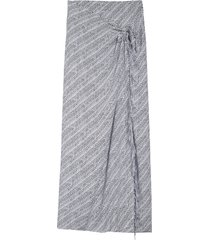 women's balenciaga archive letters logo fringe poplin wrap maxi skirt, size 8 us - black