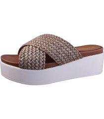 sandalia cruzada marrón fagus