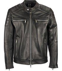 hogan biker in leather black jacket
