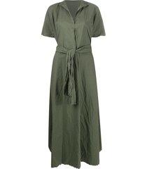 daniela gregis poplin tie-waist dress - green