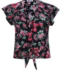 blusa con nudo flores color negro, talla 14
