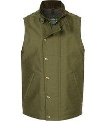 addict clothes japan press stud boa vest - green