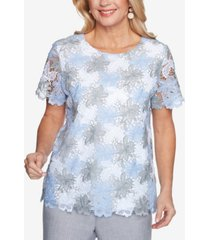 alfred dunner women's missy french bistro lace floral top