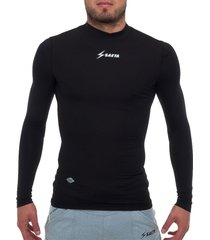 camiseta licrada manga larga negro saeta moldfit