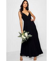 boutique geplooide maxi bruidsmeisjes jurk, zwart