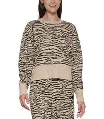 dkny sport women's tiger-print cropped sweatshirt