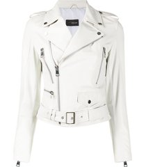manokhi belted multi-pocket biker jacket - white
