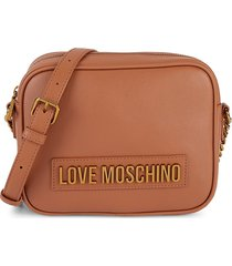 love moschino women's mini faux leather crossbody bag - tan
