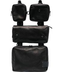 yohji yamamoto multi-pocket leather backpack - black