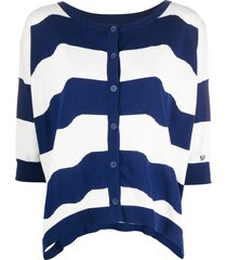 twin-set slouchy striped cardigan - blue