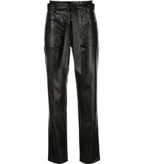 alexis belted straight-leg trousers - black
