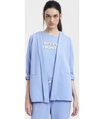 blazer feminino mindset amplo manga 3/4 azul claro