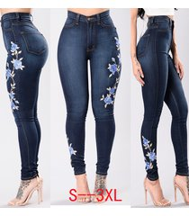 embroider flowers jeans pencil stretch denim pants skinny trousers women