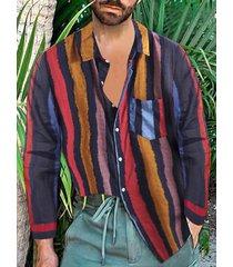 hombres vendimia cuello a rayas camisa fiesta de verano baggy holiday hawaiian fancy camisa