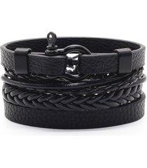 pulsera 4 manillas de cuero esposas brazalete para mujeres y hombres color negro