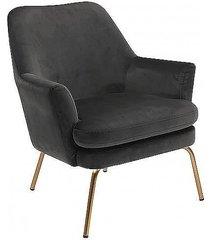 fotel tapicerowany na złotych nogach kobi szary
