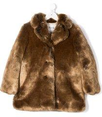 bonpoint faux-fur mid-length coat - brown