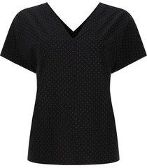 blusa escote en v color negro, talla l