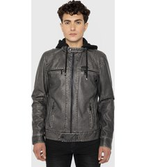 chaqueta ellus stain pu moto with remobable hoodie jacket gris - calce regular