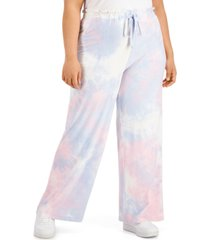 derek heart trendy plus size tie-dye palazzo pants