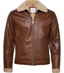 jjflight jacket läderjacka skinnjacka brun jack & j s